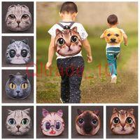 Wholesale 400PCS HHA332 D cat dog owl prints school bag kids children cartoon animal plush kindergarten backpack outdoor sports bag party gift