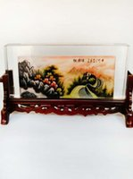 arts crafts antique - New arrival Chinese traditional screen with crystal painting built in the Great Wall ink painting collectable arts and crafts