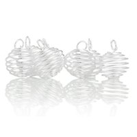 cage wire - DIY Jewelry Findings Silver Plated Wire Spiral Bead Cages Pendants Fit Ball Inside For Necklace Making