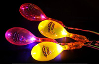 Wholesale Free EMS Mixed LED Flashing Maracas Funny Glow Light Up Shake Cheering Maraca Toy with Strap for Party KIV Disco Christmas Gift