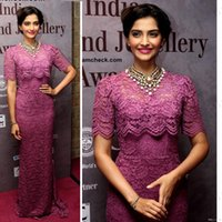 Cheap 2015 New Red Carpet Celebrity Dresses High Neck Evening Gowns New Sonam-Kapoor Half Long Sleeve Lace Plus Size Mother Of The Bride Dress
