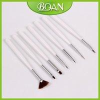 Al por mayor-1 fijó 7 PC / sistema de cepillo de uñas lindo juego de pinturas de uñas Pintura Kit Conjunto de lápiz de madera de envío libre del cepillo