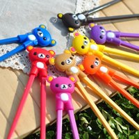 Wholesale 2015 Hot selling Baby Study Plastic Cartoon Rilakkuma Relax Bear chopstick Traditional chopsticks Birthday Presents Wedding Gifts Flatwear