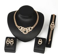rings jewellery - Jewelry Sets New Gold Plated Crystal Charming Necklace Bracelet Earring Ring Fashion Romantic Wedding Accessories Gold Plated Jewellery