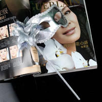 masquerade masks on stick - Masquerade ball Mask Lady dance Masks Painting Powder On Stick Gold Edge Carnival Halloween Party Masks with Flower