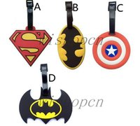 batman labels - HOT Cartoon Superhero Superman Batman Silicon Luggage Tag Name Tag Label Travel Trip Suitcase Tags t10