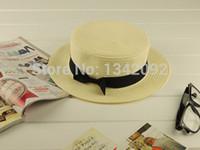 Gros-DHL / EMS Livraison gratuite en gros capeline de paille de blé Summer Beach Fedora Trilby Panama Brim Canotier Cap avec ceinture ruban