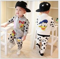 Wholesale Toddle Kids Sports Casual Sets Infant Baby Boys Girls Autumn Long Sleeve Cartoon Donald Duck Zipper Tracksuit Trousers Kids Outfits