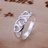 Wholesale Fashion Sterling Silver rings jewelry multi cute hearts rings for women