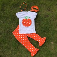 ruffle pants - Short sleeves Halloween girls pumpkin print pant ruffle kids boutique outfits girls suit with matching necklace and headband