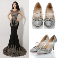 custom shoes - 2014 Sparkly Beads Crystals Wedding Shoes cm High Heel Bridal Shoes Custom Made Party Women Shoes Silver Crystal Shoes For Evening