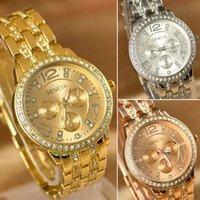 Wholesale Geneva Gold Bling Quartz Rhinestone Crystal Ladies Women Girl Unisex Stainless Steel Wrist Watch