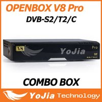 Wholesale 2pcs Openbox V8 Pro Combo Receiver DVB S2 T2 C Support Cccamd Newcamd Youtube Youporn USB Wifi VOD