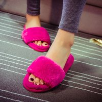 Wholesale slippers Candy color fur occupy the home fashion Soft personality
