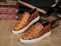 mens designer shoes - 2015 New Mens MCM Shoes Brown PU Leather Cool Boat Shoes Fashion Slip On Shoes Designer Shoes High Quality Cheap Casual Shoes