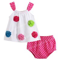designer baby clothes - Fashionable Newborn Girls Clothes With Colorful Flower Straps Tops Outfits Dot Pattern Shorts Designer Baby Clothes T03