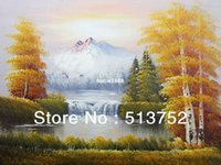 oil painting gallery - Oil Painting Yellow Tree Art And Sunrise On Canvas Wall Gallery Model Handmade Picture