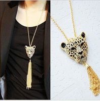 Wholesale Leopard Head Sweater - Wholesale-Free Shipping Gold Tone Crystal Leopard Head & Tassel Necklace.(Mini Order Is $5+Gift)Long sweater chain