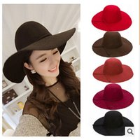 Wholesale Woman Wool Felt Beach Bowknot Hats Lady Vintage Wide Brim Caps Girl Winter Travel Floppy Hats Wool Wide Brim Hat U2