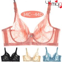big minimizer - C D thin cup unlined big size lace push up bra female underwear transparent minimizer bra top sexy plus size bras for women