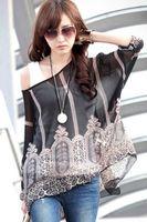 bohemian clothes - Bohemian style Fashion Girls Print Chiffon Batwing Blouse Top Women Smock autumn clothing B7010
