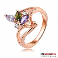 fashion rings - Latest K Rose Gold Platinum Plate Austrian Crystal Fashion Rings For Women mm RIC0036