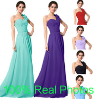 Real Photos one shoulder black evening dress - 2015 One Shoulder Chiffon Black Red Evening Bridesmaid Dresses Green Blue Lilac Handmade Flowers Long Bridal Prom Party Gowns In Stock Cheap