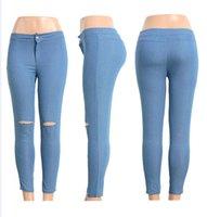 Wholesale New autumn winter Women s Pants Fashion Sports Pants jeans hole Pencil Denim bodycon sexy Trousers Leggings Jogger Pants