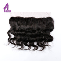 Wholesale Brazilian Virgin Hair Lace Frontal Closure x4 quot Bleached Knots Virgin quot Body Wave Full Lace Frontal Brazilian Wavy Closure