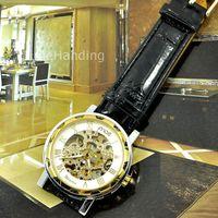 Wholesale 1PCS Fashion Gold Skeleton Men Luxury Winner Automatic Mechanical Casual Watch