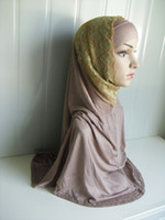 Wholesale L060 Two set cotton and lace Big size Length to Waist Muslim Ladies Hijab assorted colors in one Islamic Hijab