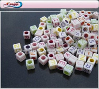 air pack delivery - LY10546 mm Plastic Alphabets beads China post air mail free color mixed packing Square shape Fast delivery
