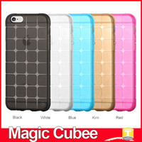 Plastic plastic cube - Magic Cubee Shape Protective Cube Grid Series Soft Gel TPU Transparent Case For iPhone SE S S Plus Shockproof Clear Back Cover