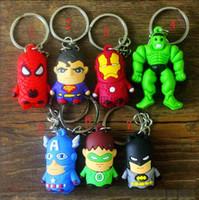 al por mayor colgantes capitán américa-Los llaveros de dibujos animados The Avengers Llavero Iron Man / Thor / Batman / Spiderman / Capitán América / Joker PVC Juguetes PVC Colgantes envío libre