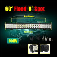 "Wholesale Led Dual Flood Lights - 23"" 144W Dual Row CREE LED Light Bar Truck Work lightbar Offroad lamp Combo Beam for Car Camper Boating Truck ATV Jeep"