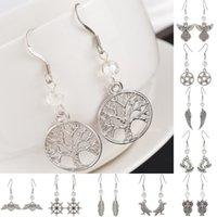 Wholesale 1PC Fashion Jewelry Ear Hook White Crystal Dangle Earrings For Women Pentagram Tree Owl Indian Jewelry