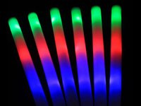 Wholesale 10hrs lasting foam glow stick performance vocal concert party festival flash stick led light green blue red colorful