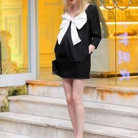 Wholesale 2015 Summer Maternity Dress Bowknot Clothes For Pregnant Women Sleeve Maternity Black Dress Pregnancy Clothing X60 E3433