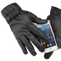 Wholesale Woman s Man s Black PU Leather Gloves Full Finger Screen Touch Mittens Winter Outdoor Cycling Driving Accessories GL221