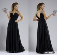 Wholesale Bling Sparkle A Line V neck Floor Length Chiffon Evening Dresses Beaded Sequins Gorgeous Women Evening Prom Gowns
