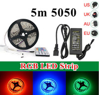 Wholesale 5050 Waterproof RGB Led Flexible Strip Light DC12V M leds Key IR Remote Controller V A Power Adapter EU US UK AU Plug