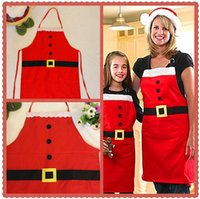 beam luminous - 2015Happy Christmas Decorations Santa Beaming Apron Family Party Christmas Dinner Party Kitchen Apron Hot Sale
