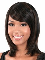 Wholesale Foreign trade hot selling medium long straight wig with oblique bangs