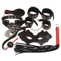 Wholesale 20151205 Adult Game Set Handcuffs Gag Spanking Paddle Whip Collar Erotic Toy Leather Fetish Sex Bondage Restraint Sex Toy for Couple