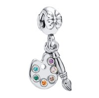 bead artists - 925 Sterling Silver Artists Palette Pendant Charm Floating European Locket Beads DIY Bracelet Charms Fits Chain Necklace Bangle X960