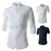 Casual Shirts men pocket square - British Style Men Sleeve Causal Shirt Fashion Multiple Pockets Design Square Collar Men Shirts Can Folding Sleeve Shirts WZ05