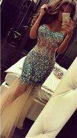 Wholesale See Through Royal Blue Gowns - Crystals Party Dresses Sexy See Through Sheer Tulle Formal Dress Strapless Zipper Back Low Back Rhinestones Evening Gowns Personalzied 2016
