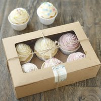 aseptic food packaging - 20 Cupcake Cardboard Paper Box with Handle Gift Cake Packaging cm Kraft Paper Boxes