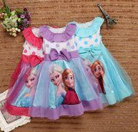 sundresses - Frozen Anna Elsa Summer Girls Dresses Big Butterfly Polk Dot Tutu Tulle Veil Lace Sundress Kids Princess Dressy Children Clothing J3209
