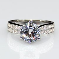 Wholesale 2ct Diamond Rings Lonze Diamond Engagement Rings Micro Pave Solitaire Accents Sterling Silver Plated White Gold Lab Created Diamond Ring